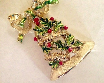 Now On sale Vintage Gerry's Christmas Brooch Articulated Holiday Bell and Tinsel Decoration Bow