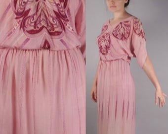 70 Pink 2 Piece Skirt Set with Psychedelic Paisley Print and Dolman Sleeve