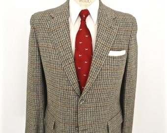 Brooks Brothers Houndstooth Tweed Sport Coat / vintage Brookstweed gray grey hounds tooth plaid pattern wool suit jacket / men's small