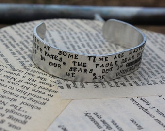 Julius Caesar - Fault in our Stars Cassius Speech Metal Stamped Quote Cuff Bracelet - Shakespeare Literary Quote