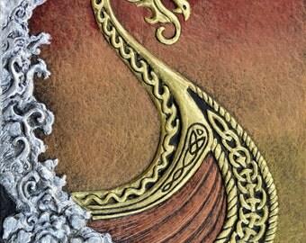 Viking Dawn - Cast Paper - Fantasy art - Drekkar - Long Boat - Raiders - Norse