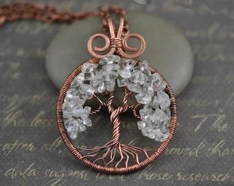 Crystal Quartz Necklace Tree-Of-Life Pendant Copper Wire Wrapped Pendant Copper Jewelry Quartz Pendant Rustic Family Tree April Birthstone