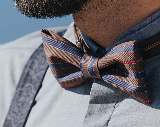 Brown Mens Bow tie, Striped Bow tie, Chocolate Bow tie, Coffee Bowtie, Brown Blue Bow tie, Prom bow tie, Wedding bow tie, unique bow tie
