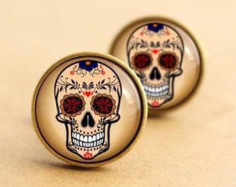 Sugar Skull Cufflinks - Floral, Rose, Halloween Day of the Dead, Rockabilly Cufflinks, Tattoo, Valentines Sugarskull, Wedding, Groom, Bronze