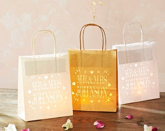 Mr and Mrs personalised Lantern Bags, perfect wedding party decoration