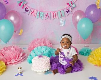 BUTTERFLY BIRTHDAY BANNER / Butterfly baby shower / Purple butterfly baby shower / Nicu baby / 1st birthday girl / First birthday girl