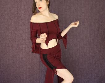 Adjustable Cinched Side Split Skirt in Deep Port Red