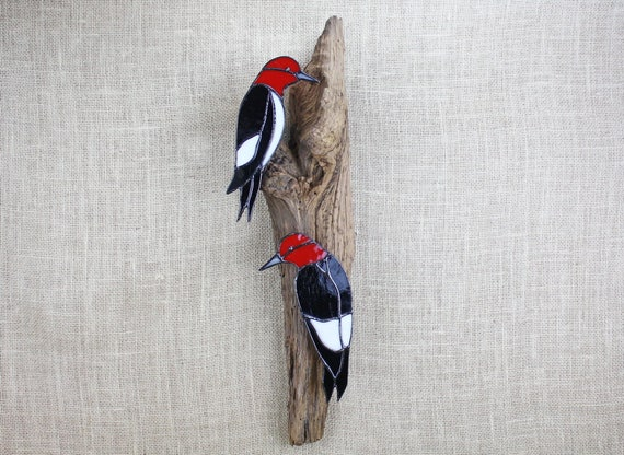 Red Headed Woodpecker Pair Stained Glass Wall Sculpture