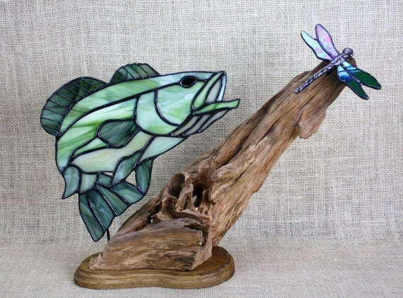 Stained Glass Large Mouth Bass With Dragonfly On Wood Base