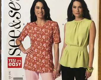 UNCUT See and Sew B6156 Shirt Sewing Pattern Size 8-10-12-14-16-18-20-22-24 Blouse, Top, Peplum, Short Sleeves