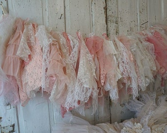 Pink lace garland romantic wall hanging shabby cottage pink white cream fabric banner salvaged antique vintage home decor anita spero design