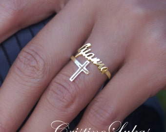 10K, 14K or 18K Solid Gold or Sterling Silver Personalized Name Ring With Cross - Double Wrap Ring n Yellow Gold, Rose Gold or White Gold