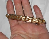 Vintage hair barrette 1970s heavy metal dog chain gold tone large hair accessory Free USA Shipping