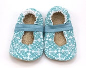 LAST PAIR 12-18 mos // baby mary janes teal damask shoes baby booties for girl toddler vegan shoes baby