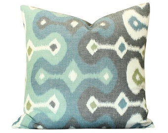 Schumacher Darya Ikat Pillow Cover in Blue and Green