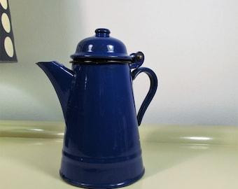 Vintage Enamel Teapot Blue color Vintage Tea Pot Vintage Enamelware Home Decor