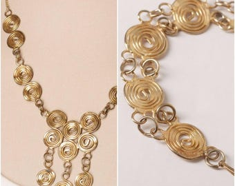 Vintage Gold Swirl Necklace and Bracelet Set