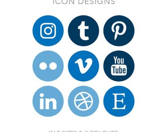 19 Circle Social Media Buttons - Instant Download - Blue Pack