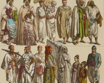 1888 Antique print of ARABIC PEOPLE. Clothing and Jewels. ARABS. Arabic Women. Arabic Men. 129 years old nice lithograph
