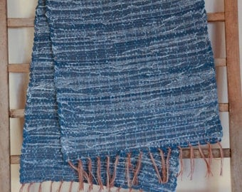 "Hand Woven Denim Table Runner - 15"" x 38"""
