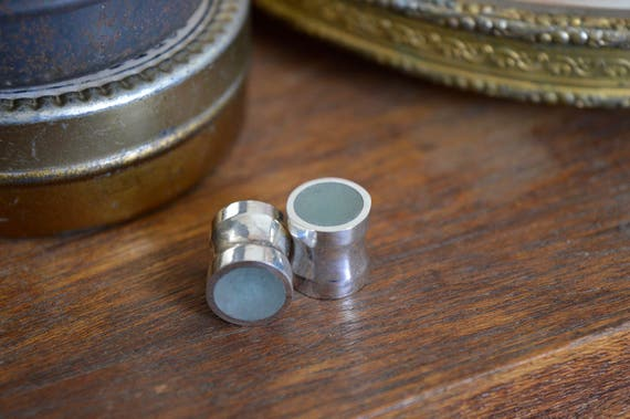 "Silver and Solid Aventurine Handmade Large Plug Gauges - Size 2g to 1"" - Natural Aventurine Sterling Ear Flare Light Green Inlay Metal Stone"
