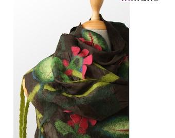 SALE!!! brown nuno felted scarf, wrap, meadow - silk felt wool fairy designer scarf, nunofelted shawl, felted shawl, wool, silk