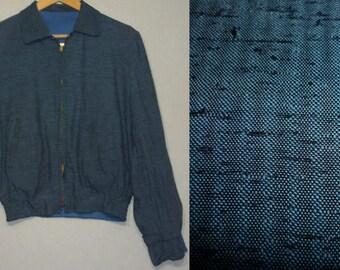 1950s Mens Jacket / S / 36 / Flecked / Reversible / Atomic / Rockabilly / Rayon / Vintage 1950s Mens Clothing / Ricky Jacket / RnR
