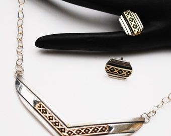 MM Rogers Signed  - Chevron Necklace and Earrings - Sterling silver - 14 kt Gold - Southwestern
