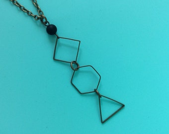 Geometric Necklace - Square/Hexagon/Triangle Necklace - Minimalist Necklace - Matte agate