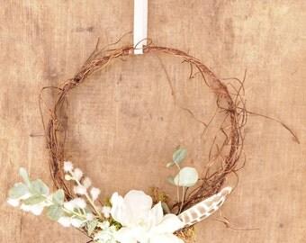 mini wreath church pew chair back or table decoration rustic boho wedding decor - Church Pew