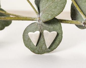 Silver Heart Earrings - Mismatched Earrings - Asymmetrical Earrings - Small Silver Stud Earrings - Bridesmaid Gift Ideas - Delicate Jewelry
