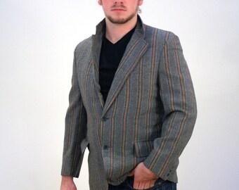 60s Mod Gray Striped Blazer, Carnaby Street Sport Coat, Mod Striped Sport Coat, Mod Sport Coat, Mod 60s Blazer, Gray & Tan Striped Blazer, M