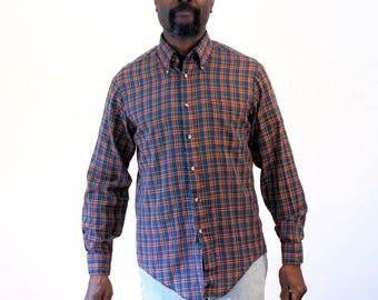 60s Plaid Jordan Marsh Button Down Shirt, 60s Blue Plaid Shirt, Vintage Long Sleeve Plaid Shirt, Plaid Long Sleeve Shirt, M