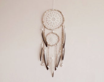 Bohemian dreamcatcher, double, wall hanging, beads, pigeon feathers, dream catcher, handmade, nursery decor, crochet, boho bedroom, white