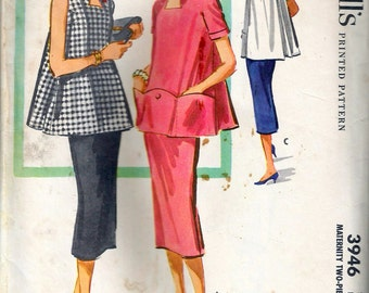 Vintage 1956 McCall's 3946 Maternity Two-Piece Dress Sewing Pattern Size 12 Bust 32""