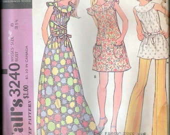 """Vintage 1972 McCall's 3240 Retro Dress or Smock & Pants Sewing Pattern Size 8 Bust 31 1/2"""""""