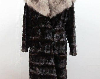 1950s Blue Fox and Mink Fur Coat