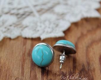 Turquoise Stud Earrings, Turquoise Earrings, Stud Turquoise Earrings, Turquoise Jewelry, Gemstone Earrings