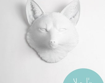 Customizable Fox Head Wall Mount The Sylvester, by White Faux Taxidermy. Perfect Fox Nursery / Farmhouse Decor, Fox Wall Art, Fox Home Decor