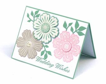 floral wedding card, wedding wishes congratulation blank card, soft pastel flowers, wedding shower