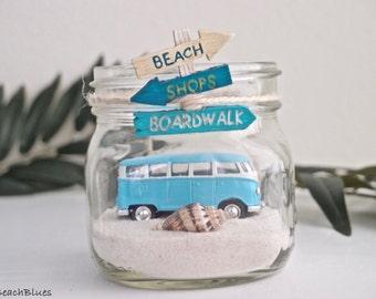 VW Bus Van / Beach Home Decor / summer decor / Beach Wedding decor / BLUE Beach Car in  Jar / Mason Jar / Beach Scene / Sand / DIY