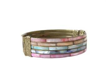 Vintage Mother of Pearl Brass Hinged Bangle Bracelet Boho Hippie Shell Inlay
