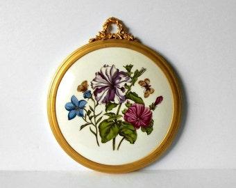 ON SALE Vintage Severn Ware Framed Wall Hanging Floral English Fine Bone China