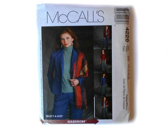 McCall's 4226 Pattern Non Stop Wardrobe Misses' / Miss Petite Lined Jacket Top Pants Bias Skirt Sizes 12 14 16 18