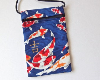 Pouch Zip Bag Goldfish BLUE Fabric.  Great for walkers markets travel.  Cell Phone Pouch. Small fabric Purse. Japanese Koi Carp sling pouch
