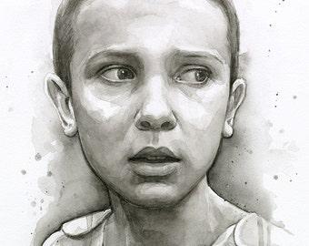 Eleven Art Portrait, Eleven Upside Down, Watercolor Art Print, Sci-FinArt