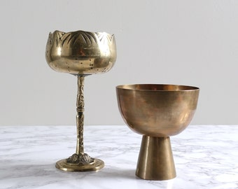 Vintage Brass Goblet Chalice
