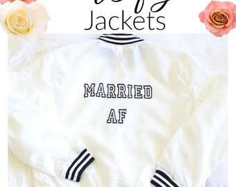 Bride to be Bridal Jackets  Bridal Wear Bride Zip up Bridal Shower Gift Ideas Wifey Shirts, Just Married Mrs Shirt, Married AF Shirts