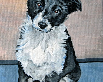 Pet portrait painting in acrylics commission your own 5 x 7 inches impressionist style by Christine Evans McHugh