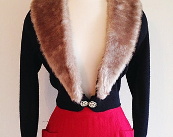 Vintage Mid Century Mad Men Glam Cardigan with Faux Fur Collar 1950s
